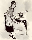 Retro housewife cooking in her kitchen vector image Royalty Free Stock Images
