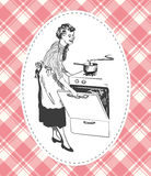 Retro housewife cooking in her kitchen vector image Royalty Free Stock Photo