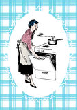 Retro housewife cooking in her kitchen vector image Royalty Free Stock Photography