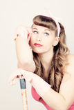 Retro housewife dreaming Royalty Free Stock Photo