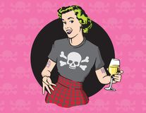 Retro Style Punk Rock Housewife Vector Design. Retro housewife illustration wearing punk rock clothes and drinking wine on skull and cross bones background Royalty Free Stock Image