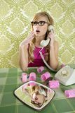 Retro housewife telephone woman vintage. Hysterical surprised gesture Royalty Free Stock Photo