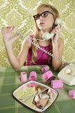 Retro housewife telephone woman vintage wallpaper. Retro housewife telephone woman in vintage wallpaper Stock Image