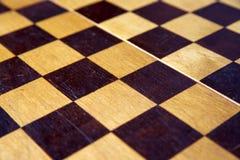 Retro houten schaakbord Stock Afbeelding