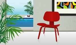 Retro Huis met Pool Royalty-vrije Stock Afbeeldingen