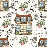 Retro huis naadloos patroon Stock Foto's