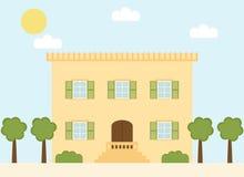 Retro huis van het stijl Italiaanse dorp met vensterblinden en bomen Royalty-vrije Stock Afbeeldingen