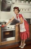 Retro huisvrouwen schoonmakende keuken Stock Fotografie