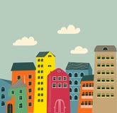 Retro huizen en wolken Stock Afbeelding