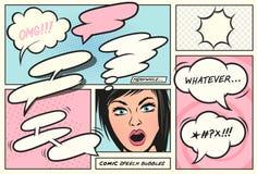 Retro humorbokanförandebubblor royaltyfri illustrationer