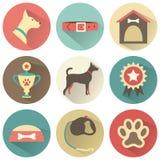 Retro hundsymbolsuppsättning Vektorillustration för rengöringsduk Royaltyfri Bild