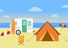 Retro husvagn på stranden, sommarsemester, retro bakgrund Plan design stock illustrationer