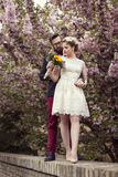 Retro huwelijk stock foto's