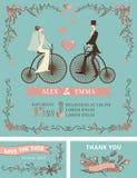Retro huwelijksuitnodiging Bruid, bruidegom, retro fiets vector illustratie