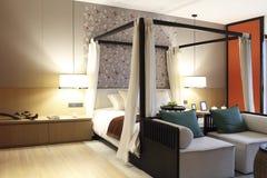 Retro i nowożytna mashup sypialnia Zdjęcie Stock