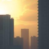 Retro i stadens centrum skyskrapor Arkivfoton