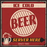 Retro Ice Cold Beer Poster Stock Photography