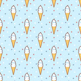 Retro Ice cream cones seamless pattern Stock Image