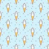 Retro Ice cream cones seamless pattern Stock Image