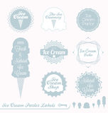 Retro Ice Cream Labels and Stickers. Collection of vintage style Ice Cream Parlor labels and badges Royalty Free Stock Photo