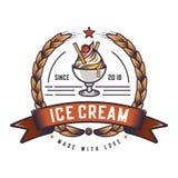Retro ice cream logo. Vintage emblem logo. Illustration of a classic badge design. royalty free illustration