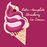 Retro ice cream poster. Vintage  illustration sign. Background template with delicious homemade dessert. Royalty Free Stock Images