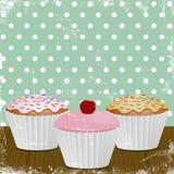 Retro iced cupcakes Stock Image