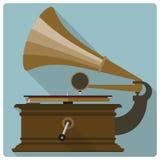 Retro icona d'annata di vettore del grammofono Immagini Stock Libere da Diritti