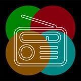 Retro icona radiofonica - media e simbolo musicale illustrazione vettoriale