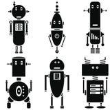 Retro icone d'annata dei robot messe in bianco e nero messe di 6 (metta B) Immagini Stock