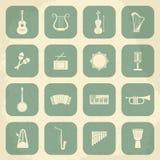 Retro icone degli strumenti musicali Vettore illustrazione di stock