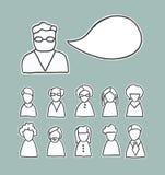 Retro icone della gente con il fumetto Fotografia Stock Libera da Diritti