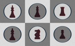 Retro icone della parte di scacchi Immagini Stock Libere da Diritti