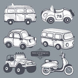 Retro icone delle automobili messe Fotografia Stock Libera da Diritti