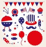 Retro icone di festa dell'indipendenza Fotografie Stock
