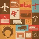 Retro icone di logistica e di trasporto Vettore Fotografia Stock