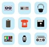 Retro icone di tecnologia Fotografie Stock Libere da Diritti