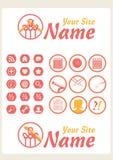 Retro icone di Web del Knit dell'annata illustrazione vettoriale