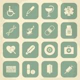 Retro icone mediche Illustrazione di vettore Fotografie Stock