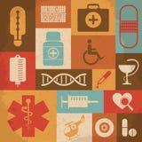 Retro icone mediche Illustrazione di vettore Fotografia Stock