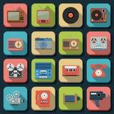 Retro icone piane elettroniche di vettore Fotografie Stock Libere da Diritti