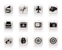 Retro icone semplici dell'oggetto dell'ufficio e di affari Immagine Stock Libera da Diritti