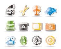Retro icone semplici dell'oggetto dell'ufficio e di affari Fotografia Stock Libera da Diritti
