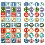 Retro icone sociali piane di media Immagini Stock Libere da Diritti
