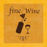 Retro Icons. Fine Wine, illustration on vintage background Royalty Free Stock Photo