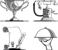 Retro Icons - Old Script, Telephone, Tray & Trophy Stock Photos