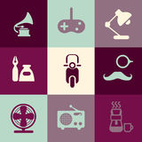 Retro Icons Pack. Illustration of different Retro Icons Pack Stock Image