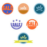 Retro icons for sale online stores. Different round icons in retro style Royalty Free Stock Photo