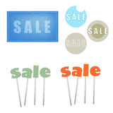 Retro icons for sale online stores. Different round icons in retro style Royalty Free Stock Images