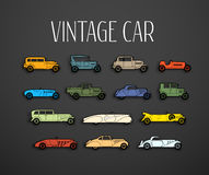 Retro icons set, different silhouette shape cars Royalty Free Stock Photos